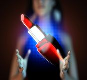 Glossy red lipstick on futuristic  hologram Royalty Free Stock Photos