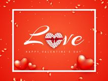 Glossy red poster or banner design with stylish lettering of love and decorative hearts. vector illustration