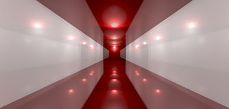 Glossy Red Room Perspective Front Stock Image