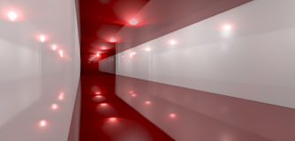 Glossy Red Room Perspective Side Stock Photos