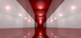 Glossy Red Room Perspective Stock Photos