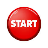 Glossy red round button with word `Start`. On white background. Bright plastic circle. Realistic vector illustration Stock Image