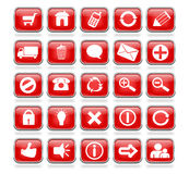 Glossy Red Square Web Buttons Stock Photo