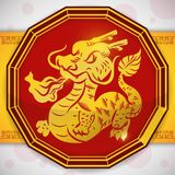 Button with a Golden Dragon for Chinese Zodiac, Vector Illustration royalty free illustration