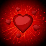 Glossy red valentine hearts Stock Image