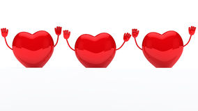 Glossy red valentine hearts behind wall Royalty Free Stock Photography