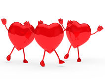 Glossy red valentine hearts wave Stock Photos