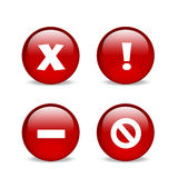 Glossy red website error icons. Set of 4 error message icons, an x, an exclamation, a dash and a strikethrough Stock Photography