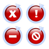 Glossy red website error icons with arrows. Set of 4 error message icons, an x, an exclamation, a dash and a strikethrough Stock Images
