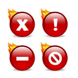Glossy red website error icons with flames. Set of 4 error message icons, an x, an exclamation, a dash and a strikethrough Royalty Free Stock Photos
