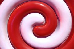 Glossy red and white spiral stock image