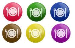 Glossy Restaurant Button. Isolated white background web 2.0 restaurant buttons glow glossy label Stock Image