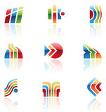 Glossy retro icons, logos. Glossy retro icons of abstract design elements royalty free illustration