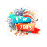 Glossy ribbon for 4th of July celebration. American Flag colors, Glossy Ribbon with stylish text 4th of July on creative abstract background for Independence Royalty Free Stock Photo