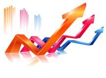Glossy rising arrows Stock Image