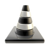 Glossy road cone colored black and silver isolated Stock Photos