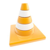 Glossy road cone colored orange and white Royalty Free Stock Photos