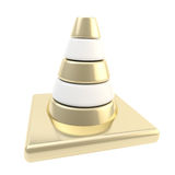 Glossy road cone colored white and golden vector illustration