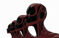Glossy robots. Modern stylish group of cyborgs in row Stock Images