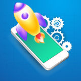 Glossy rocket with smartphone for Business. Stock Image