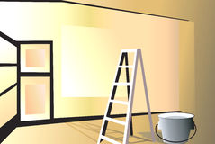 a glossy room. Illustration of a glossy room in the process of furnishing Stock Photos