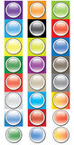 Glossy round buttons icon set. Base icon set with round glossy buttons. Many different backgrounds as base for creation of own buttons Stock Images