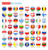 Glossy Round Flags of Europe - Full Vector Collection. Stock Image