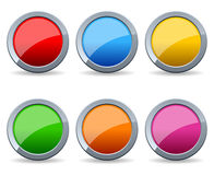 Glossy Round Metal Buttons Set stock illustration