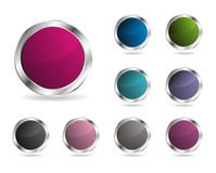 Glossy round vector button Stock Photos