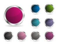 Glossy round vector button Stock Photos