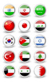 Glossy rounded flag set of Asia Royalty Free Stock Photos