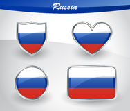 Glossy Russia flag icon set Royalty Free Stock Photo