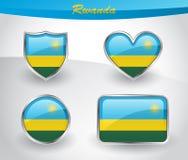 Glossy Rwanda flag icon set Royalty Free Stock Image