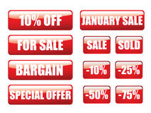 Glossy sale buttons Stock Photography