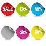 Glossy sale tag stickers with discount Stock Images