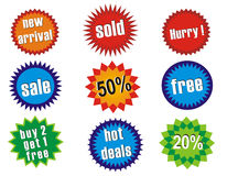 Glossy sale tags. Stickers with discount and hot deals Royalty Free Stock Image
