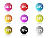 Glossy sale tags with discount Royalty Free Stock Photography