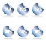 Glossy sale tags with discount Stock Photo