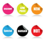 Glossy Sale Tags With Various Stock Photos