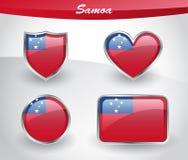 Glossy Samoa flag icon set Royalty Free Stock Photography