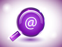 Glossy search icon in purple background. Stock Images