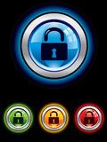 Glossy security button Stock Images