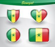 Glossy Senegal flag icon set Stock Photos