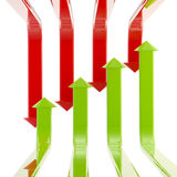 Glossy set of green and red arrows isolated. Recovery and recession conception as a glossy set of green and red arrows isolated on white Royalty Free Stock Images