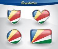 Glossy Seychelles flag icon set Royalty Free Stock Photography
