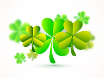 Glossy Shamrock Leaves for Patrick's Day concept. Stock Photo