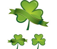 Glossy shamrocks with banners Royalty Free Stock Photography