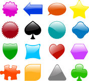 Glossy shapes -. Set of sixteen different glossy shapes Stock Photography