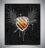 Glossy shield emblem on black background Stock Photo
