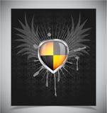 Glossy shield emblem on black background Stock Image